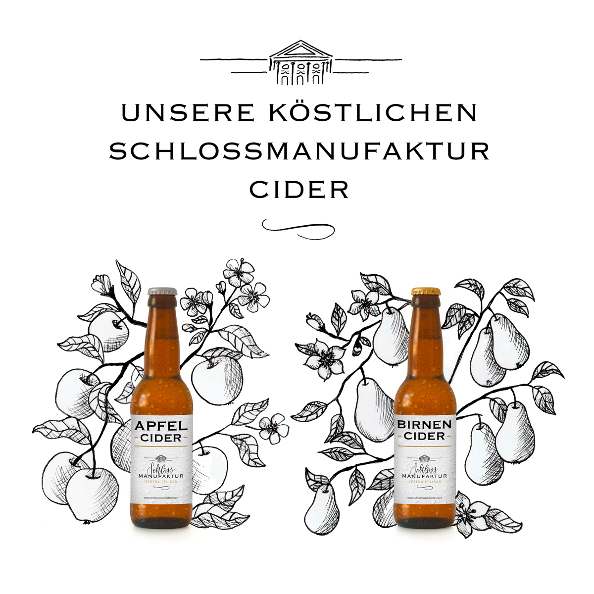 Etikettendesign und Illustration, Schlossmanufaktur Cider
